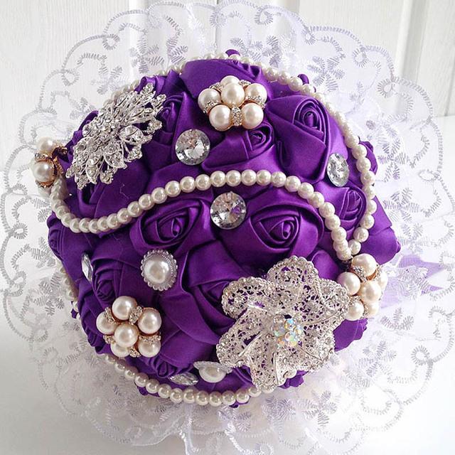 Романтический букет де mariée свадебных аксессуаров букет свадьба шику букеты кристалл свадебные букеты с жемчугом BB7