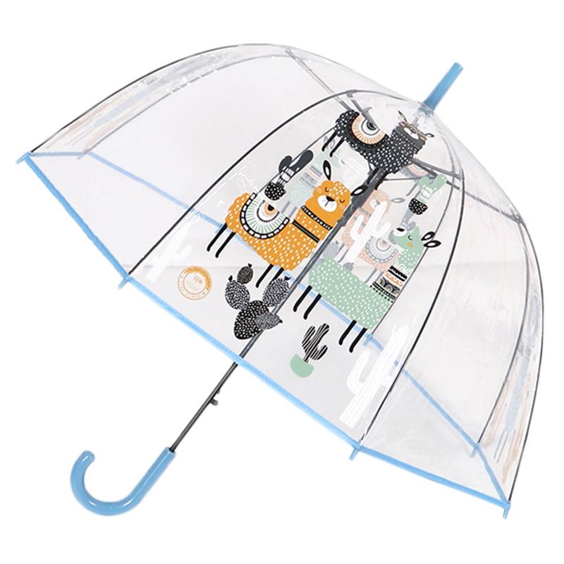 SAFEBET Alpaca Umbrella Kids Transparent Umbrellas Cartoon Unicorn Umbrella Children Rainbow Umbrellas Semi Automatic Dropshipp