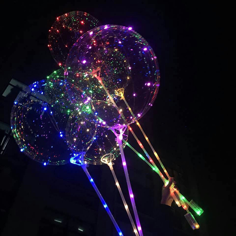 1Set Hot Flashing Toys 20 Inch Luminous LED Balloon With Stick Transparent Valentine Day Wedding Party Decoration Balloons