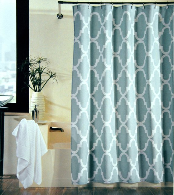 Memory Home 100 Polyester Fabric Shower Curtain Moroccan Tile Quatrefoil Spa Blue White Waterproof Curtains