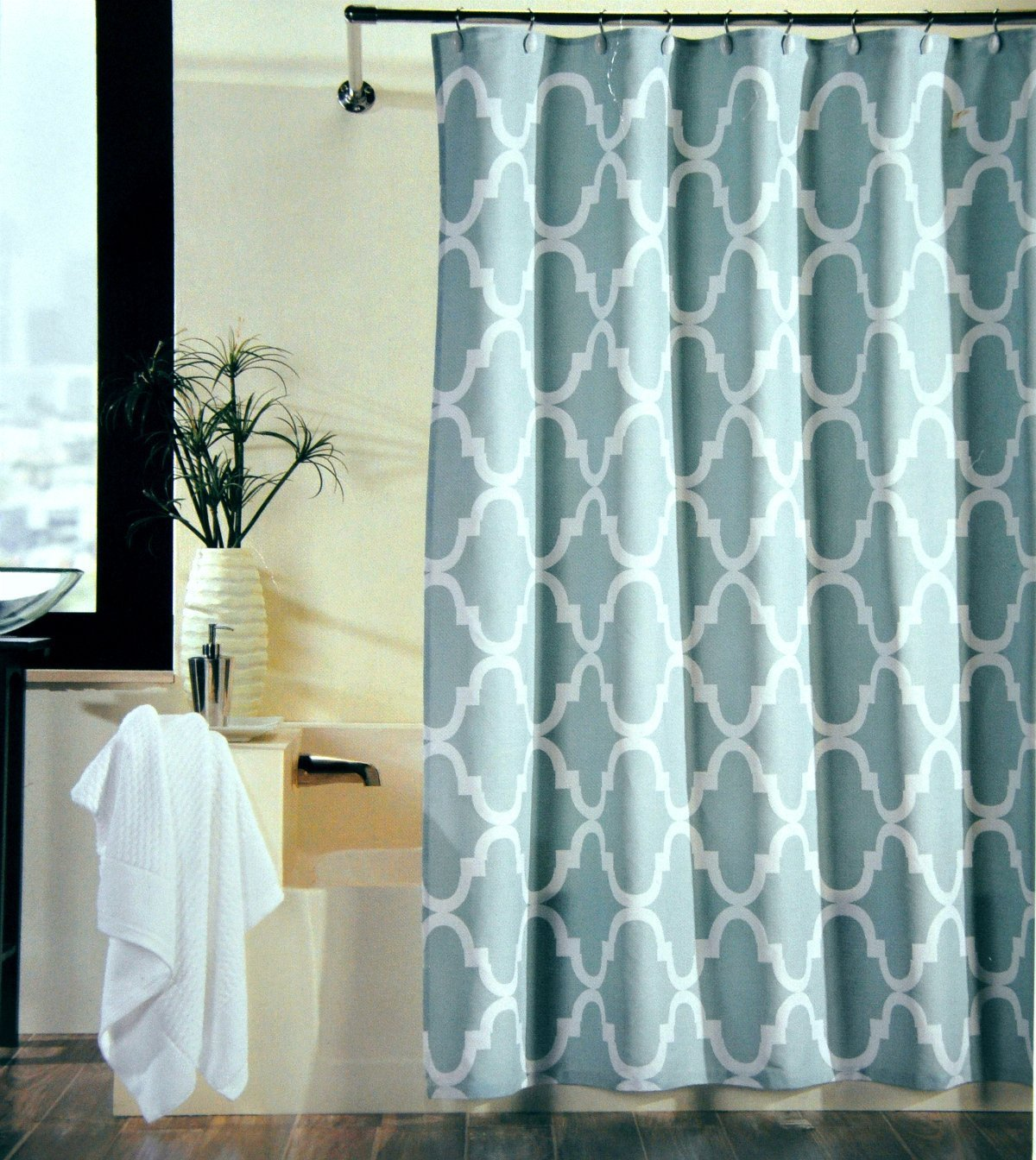 Moroccan curtains white - Memory Home 100 Polyester Fabric Shower Curtain Moroccan Tile Quatrefoil Spa Blue White Waterproof
