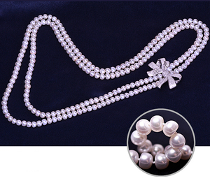 Image 3 - Zhboruini أزياء اللؤلؤ قلادة طويلة عالية guality الطبيعية المياه العذبة بيرل 925 فضة مجوهرات bowknot النساء قلادة