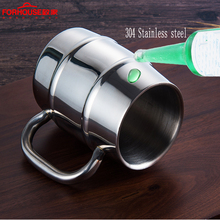 400ml Stainless Steel Beer Cup Mugs Outdoor Camping Western Tea Coffee Cup With Handle Insulated Portable Water Cup Drinkware