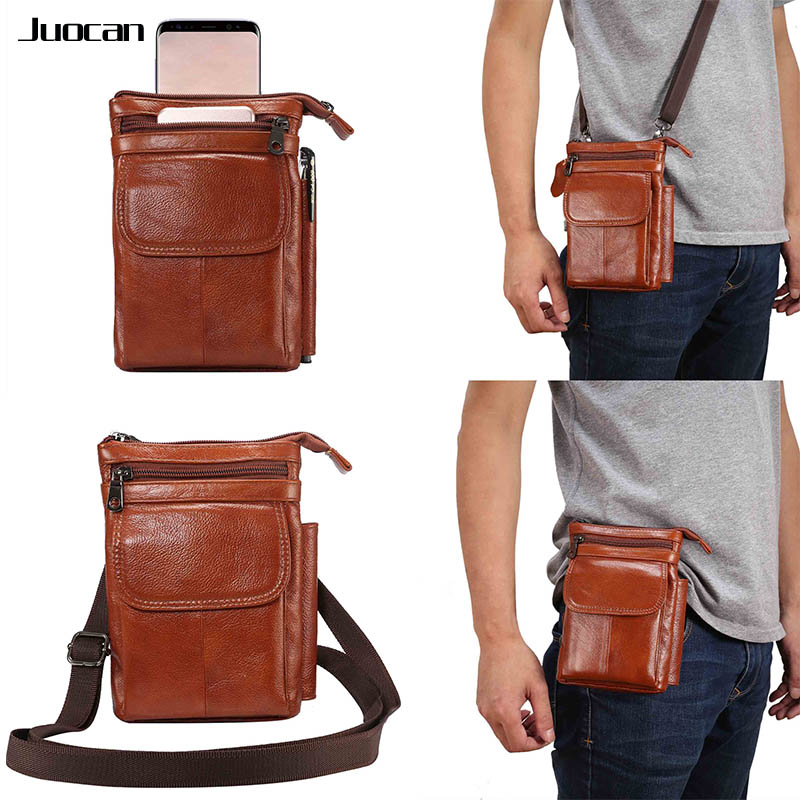 Juocan Soft Full Grain Cow Real Leather Cell Phone Bag For Iphone 7Plus For Samsung S7