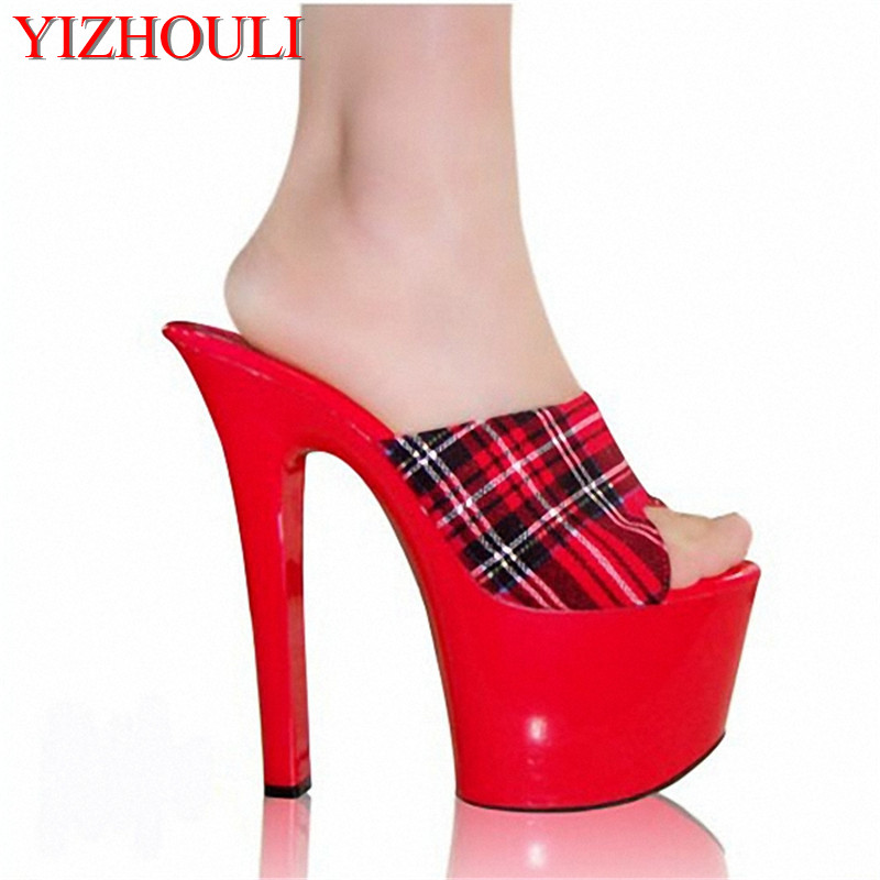 7 Inch New Arrival Lady Sexy High Heels Sandals Open Toe Slippers Ladies Casual Shoes Scotland Style Women Slippers Exotic Shoes