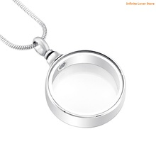 IJD9889 Round See Through Keepsake Cremation Urn Glass Stainless Steel Pendant Necklace for Ashes or Memorial