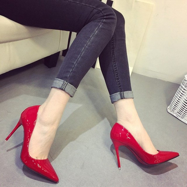 2017 Spring Autumn Fashion 10 cm Pointed Toe High-Heeled Shoes Thin Heels Patent Leather Wedding Party Shoes