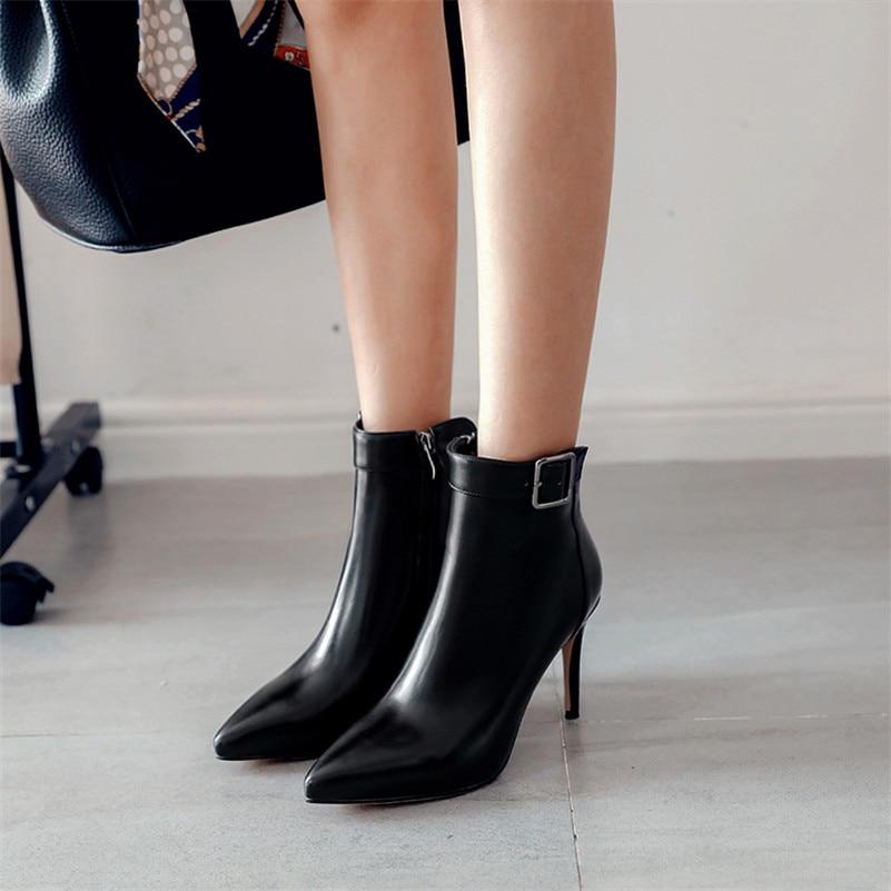 Nouveau Femmes Automne Pointu gris Beige Sexy Cheville noir Prom Bureau Chaussures Mode Bottes Hiver Pompes Femme Mince Talons Party Hauts Fedonas Bout Eqv15an