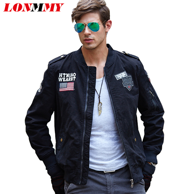 Lonmmy 2018 Mens Jackets And Coats Cotton Militar Style Bomber