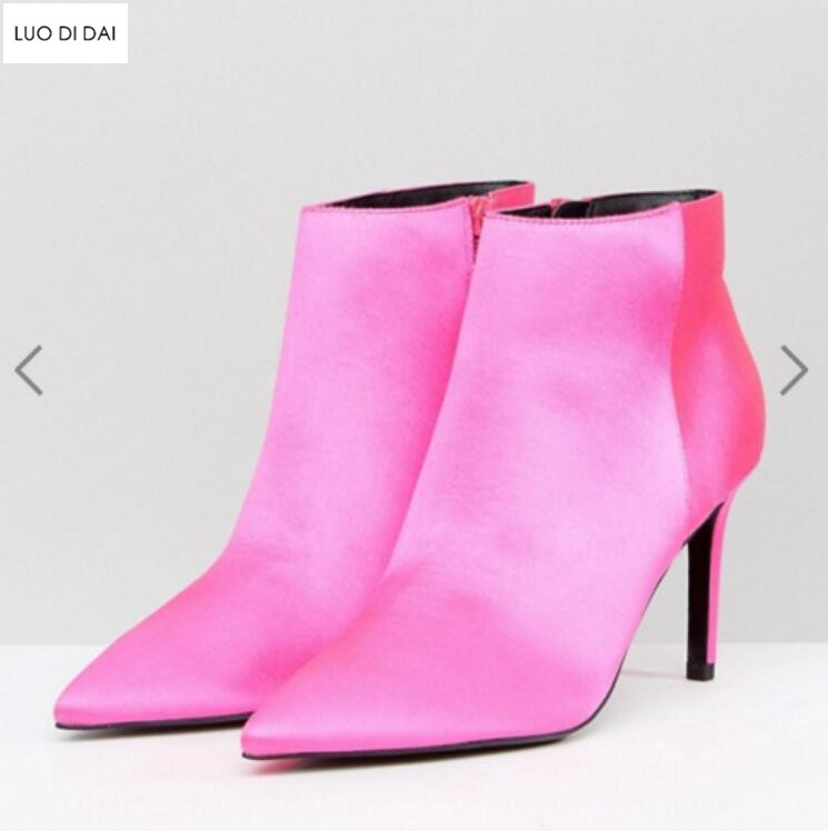 lowest discount discount shop exquisite design US $77.75 50% OFF|2019 spring fashion women hot pink boots thin heel boots  women ankle booties pink silk boots ladies dress shoes point toe-in Ankle  ...