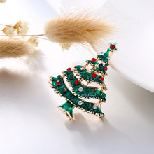 ZOTOONE Small Cute Cheap Christmas Tree Badge For Clothes Rhinestone Brooch kids Decorations Home