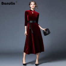 Banulin Runway Dress 2018 Autumn Winter Women High Neck Pleated Long Vintage Dark Red Velvet Waist With Belt