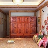 Chinois Ming et Qing Classique Armoire En Bois de rose Sculpture Maison Lit Chambre Armoire En Bois Massif Commode Antique Armoire Padouk Tiroirs