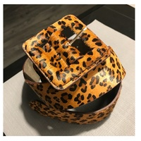 Wide   cummerbund   leopard print wide elastic   belt   Strap female fashion all-match cowhide horsehair women's wide   belt
