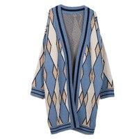 GRUIICEEN 2018 winter christmas oversized sweater coat argyle pattern knitted sweaters fashion 2018 women long jacket GY2018406