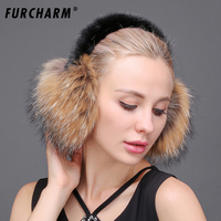 FURCHARM Real Fox Fur Ear Muffs Winter Earmuffs Warmer For Girls Genuine Fur Earmuffs Natural Fox