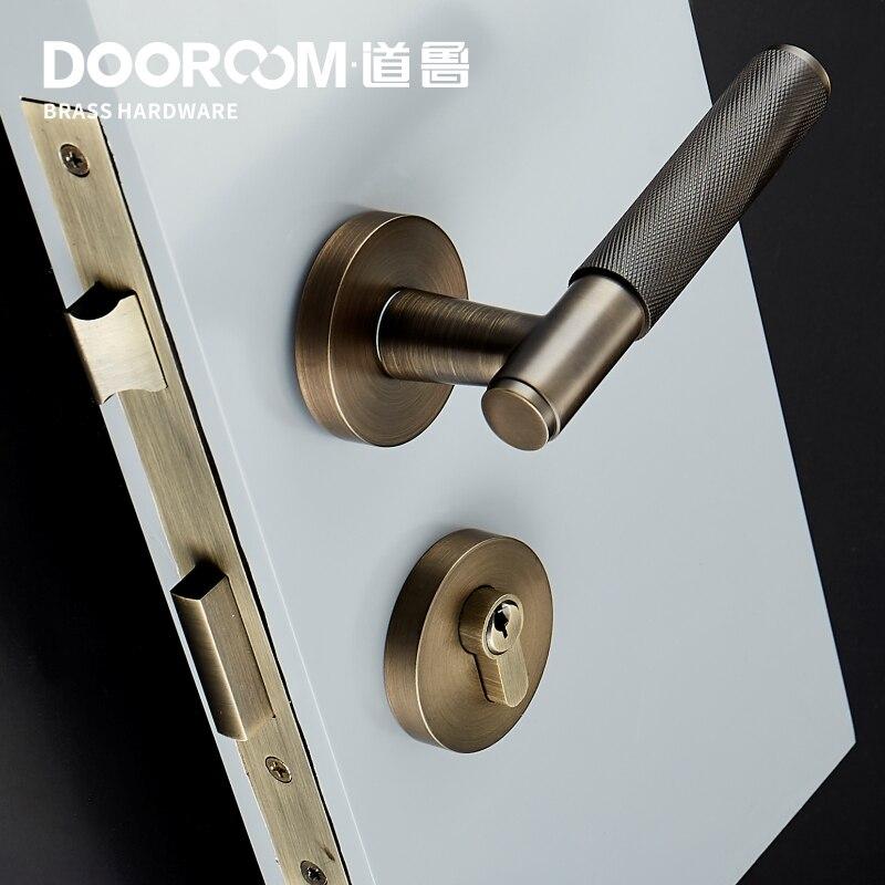 Dooroom laiton serrure de porte levier ensemble exquis croix Knurl européen américain moderne bois intérieur serrure de porte factice fendu poignée bouton - 3