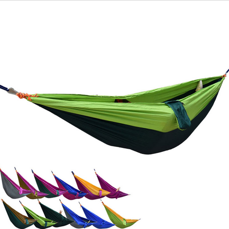 Drop Shipping Portable Nylon Double Hammock Garden Outdoor Camping Chair Travel Furniture Swing Sleeping Bed For Camping Trip patio leisure luxury durable iron garden swing chair outdoor sleeping bed hammock with gauze and canopy