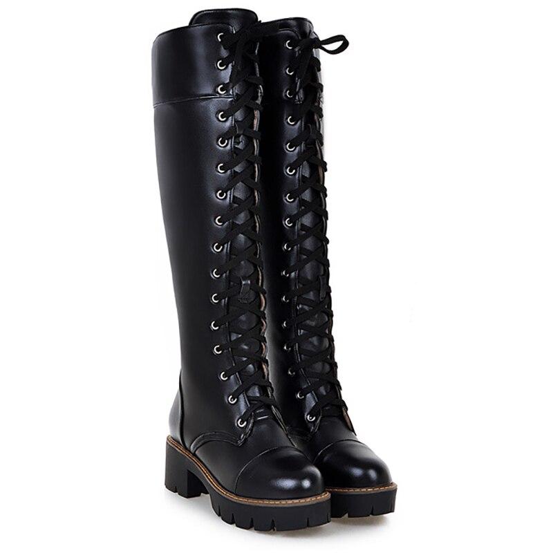 Knee High Boots Platform Women Shoes Black White Block Heels Patent Leather Fashion Lace Up Shoes Ladies Winter Boots Plus Size