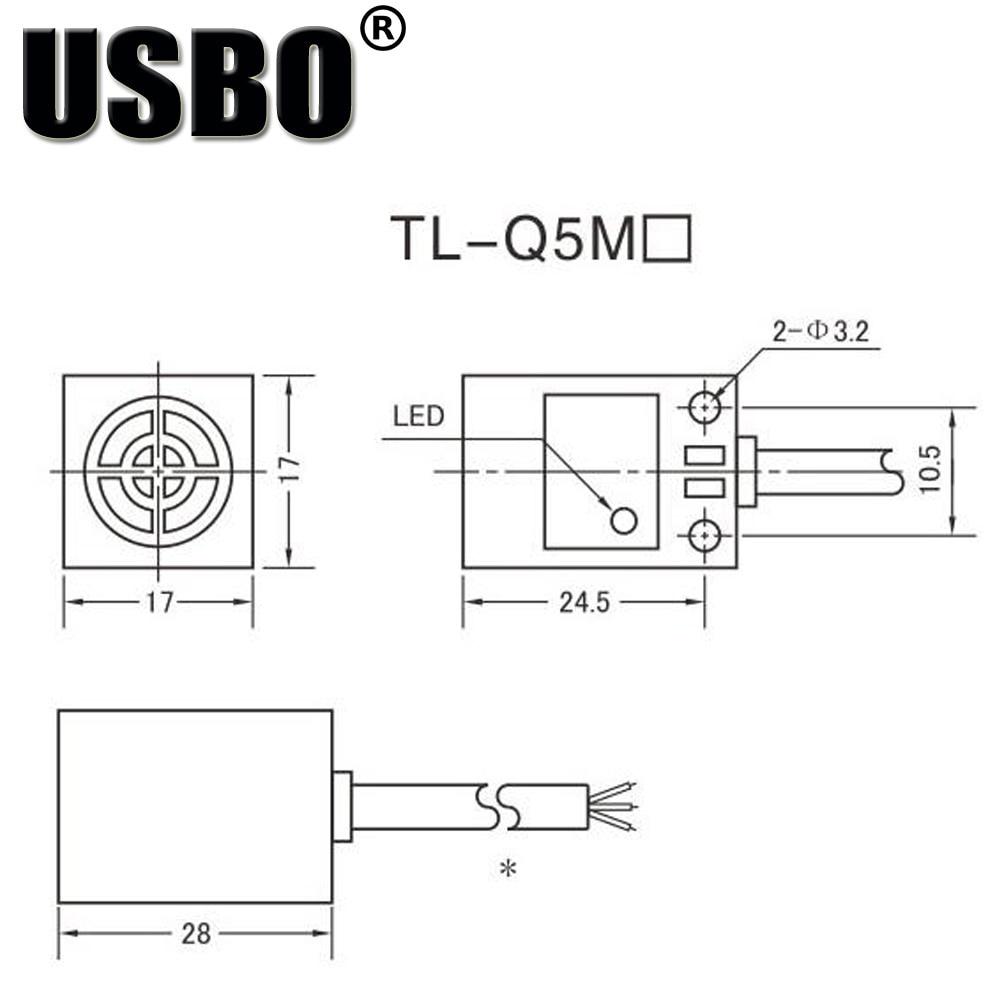 Square Inductive proximity switch TL Q5MC1 DC 6 36V three wire normally  open NPN corner post Sensor proximity switch-in Switches from Lights &  Lighting on ...