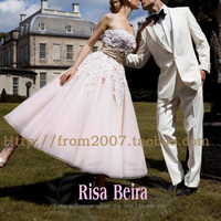 vestido de noiva 2018 puff skirt sweet short beaded plus size sexy water lace unique bridal gowns part prom Bridesmaid Dresses