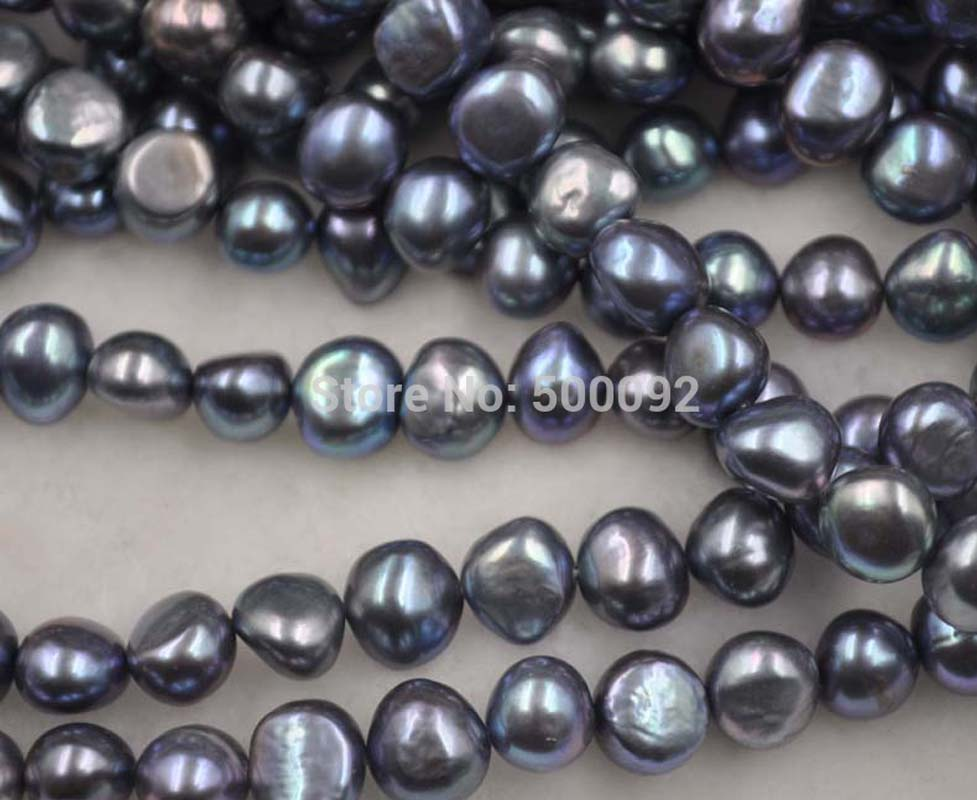 wholesale 5 strands peacock black 9 10mm freshwater cultured Baroque pearl strings