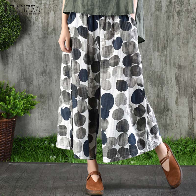 2019 ZANZEA Women's Polka Dot Printed Trousers Summer   Wide     Leg     Pants   Casual Elastic Waist Pantalon Femme Cotton Linen Trousers