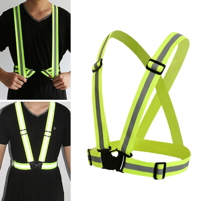 360 Degrees High Visibility Neon Safety Vest Reflective Belt Safety Vest Fit For Running Cycling Sports Outdoor Clothes