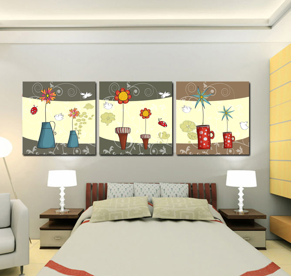HOME DECOR High Precision wall printing Set of 3 artoon forest birds Stretched canvas print Ready to Hang