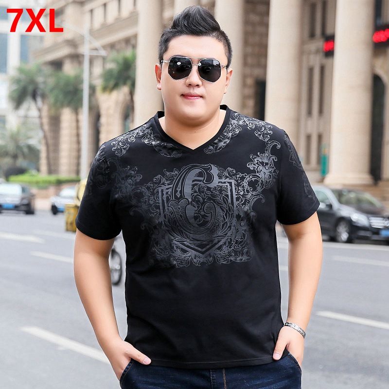 Large size short-sleeved t-shirt Male elastic t-shirt men's trend summer half-sleeved plus fertilizer XL 7X