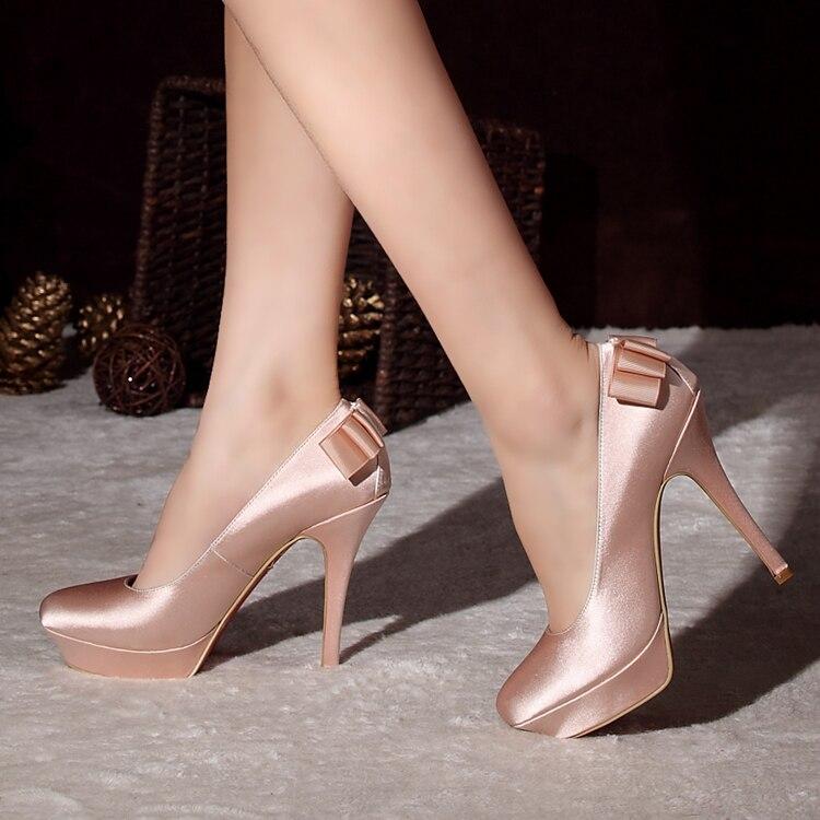 Bridal shoes wedding champagne color elegant silk high heels platform pumps - Miniworld Trading co;Ltd store