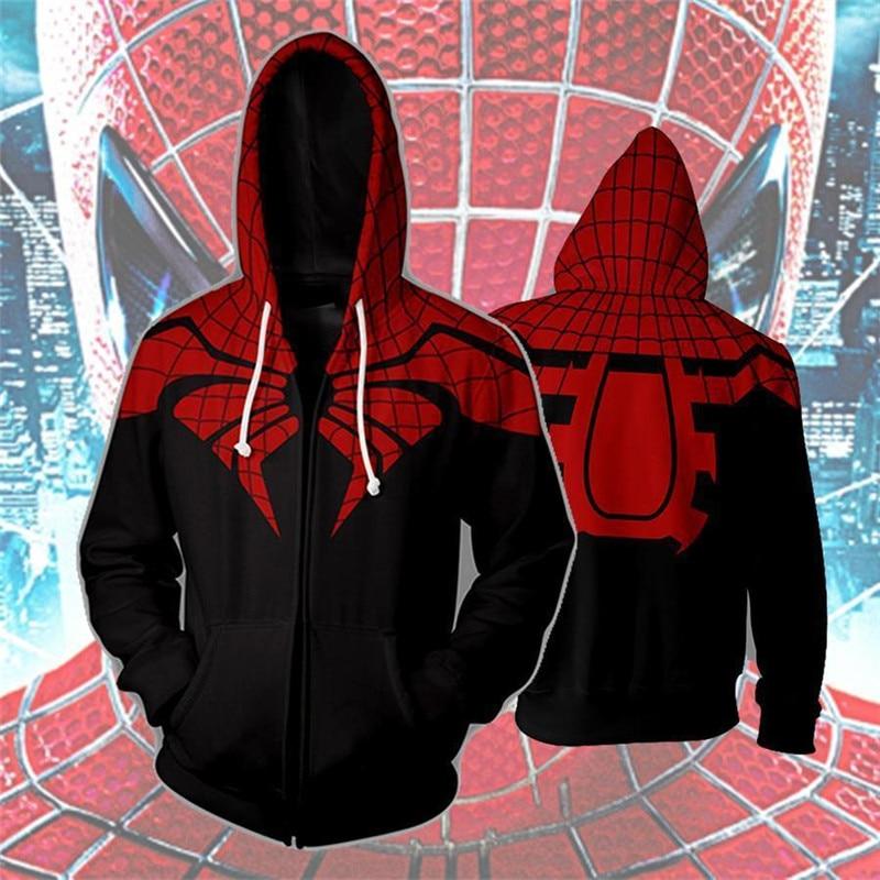 Spiderman 3D Printed Sweatshirts Men Hoodies Zipper Tracksuits 3d Zip Pullover Mens Clothing Anime Hoodie