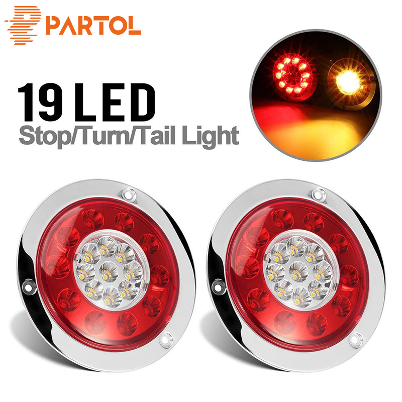 Partol 2PCS 19 LEDs Car LED Rear Tail Lights Stop Brake Running Light Side Marker For Truck Trailer Vehicles 12V 24V Red Yellow