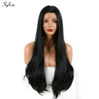 Sylvia шелковистая прямая 1B # синтетический Синтетические волосы на кружеве парик длинные природа черный 18-26 ''мягкая пробор прическа тепла нес...