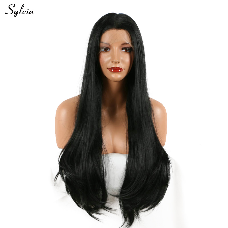 Sylvia Silky Straight 1B# Synthetic Lace Front Wig Long Nature Black 18-26 Soft Middle Parting Hairstyle Heat Resistant Fiber ...