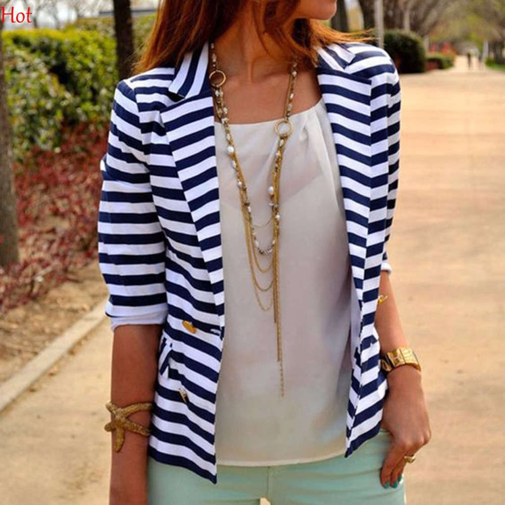 Knitted Blazer Striped Coat Cardigan Business-Suit Office Slim Casual Fashion Ladies