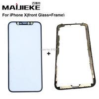 MAIJIEKE de Calidad Superior para el iphone X Pantalla Frontal Exterior de la Lente de Cristal + Frame Medio Bisel Reemplazo táctil de Apoyo de Reconocimiento de Rostros