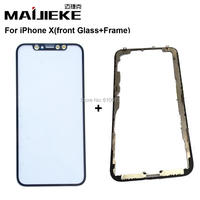MAIJIEKE Top Quality For IPhone X Front Screen Outer Glass Lens Middle Frame Bezel Replacement Support