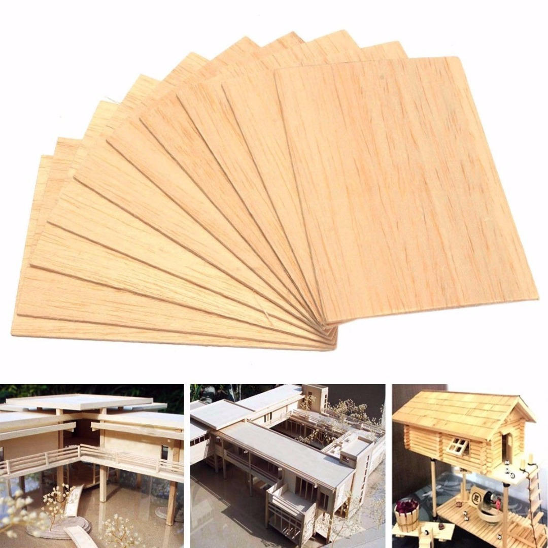 10pcs Balsa Wood Sheets Light Weight Wooden Plate Model For DIY House Ship Aircraft Toys Boats 150mm*100mm*2mm