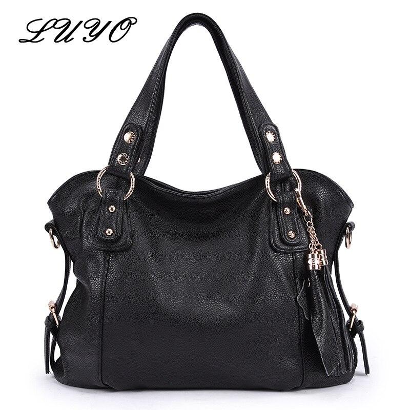 LUYO Brand Vintage Genuine Leather Tassels Ladies Handbag Women Black Shoulder Bag Designer Handbags High Quality