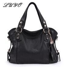 Luyo marke vintage echtem leder quasten damen handtasche frauen schwarze umhängetasche designer-handtaschen hohe qualität luxus paste