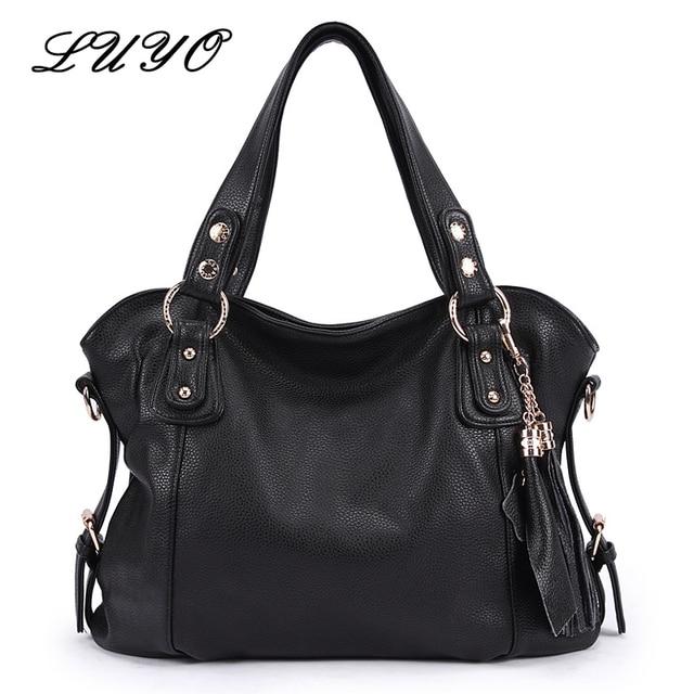 e58f3f2436 LUYO Vintage Genuine Leather Tassels Ladies Handbag Women Black Shoulder Bag  Female Designer Handbags High Quality Luxury Paste