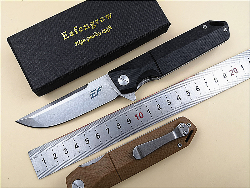 Eafengrow EF71 D2 Folding Knife G10 Handle Ball Bearing Flipper Pocket EDC Knife Outdoor Camping Utility Knife Folding Hand Tool