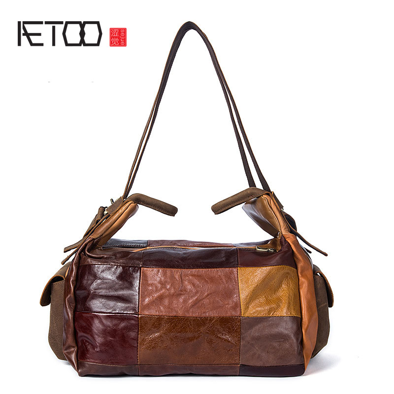 AETOO Retro leather plaid stitching fashion bag large capacity shoulder Messenger bag woolen plaid stitching pu leather shoulder bag casual portable rivets tote bag pu handbags stitching woolen large capacity bag