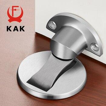 KAK 304 Stainless Steel Magnetic Door Stopper Sticker Hidden Door Holders Catch Floor Nail-free Doorstop Modern Door Hardware