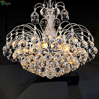 Modern Luxury Lustre De Cristal Led Plate Chrome Gold Pendant Light Foyer Dining Room Simple Chain