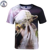 117afcf58 StarWars Mr.1991inc Engraçado Camisetas Homme Harajuku 3D camiseta Yoda  Fumar Cachimbo de Ervas Daninhas Camisetas Masculina Str..