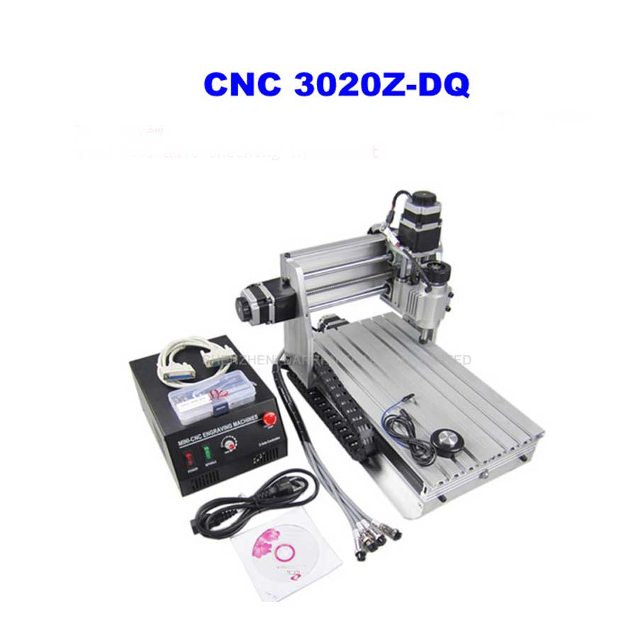 3 Axis 3020Z-DQ CNC Router Engraver Cutting Machine CNC 3020 with Ball Screw + 20x 3.175mm 1/8 Tungsten Carbide Cutter 1 PC