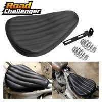 Motorcycle Seat Black Leather Solo Saddle Driver Seat Bracket For Harley Chopper Bobber