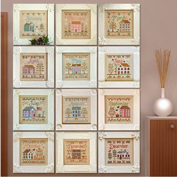 Embroidery Package Cross Stitch Kits Unopen Luxurious 12 Piece 12Months of House New Free shipping Luxurious